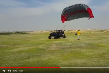 dune buggy paraglider takes off and crashes